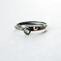 12k Gold and Mother of Pearl Stacking Rings Set - Rustic Sun and Moon Hammered Sterling Silver Bands