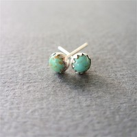 Turquoise Stud Earrings - Natural Stone in Sterling Silver
