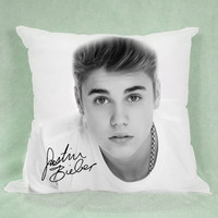 "Justin Bieber Cute Pillow case 18x18"" - Pillow Cover - Pillow Case - Custom Pillow - Custom Design - Pillow"