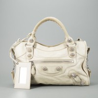 Balenciaga Champagne Leather Giant Hardware City Bag - Balenciaga - Designers