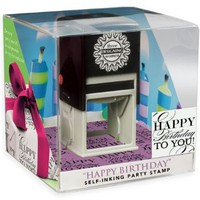 Three Designing Women Party Gift Self Inking Stamp Cube, Happy Birthday