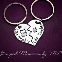 Like Mother, Like Daughter - Mom and Baby Owl - Hand Stamped Broken Heart Keychain Set - Mom and Child Gift - Matching Key Chains