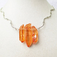 Raw Amber Quartz Crystal Point Row of 3 on Curvy Silver Chain Boho Hispter Style Necklace