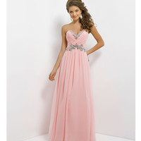 (PRE-ORDER) Blush 2014 Prom Dresses - Crystal Pink Strapless Chiffon Long Prom Dress