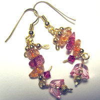 "Pierced Earrings ""Fleur"" Fuschia, Pink & Peach 1 Pair Gold Tone"