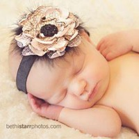 PALE pink and BLACK vintage inspired headband perfect by avabows