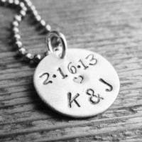 Mens Necklace Sterling Silver Round Charm ONE Stamped Jewelry Personalized Stainless Steel Chain