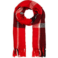 RED TARTAN TASSELLED BLANKET SCARF