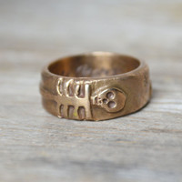 Til Death Us Do Part - Double Skeleton moon and stars ring, White Bronze.