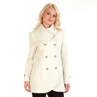 Jessica Simpson Double-Breasted Shawl Collar Coat at Von Maur