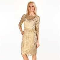 Alex Evenings Foil Lace Dress with Sash at Von Maur
