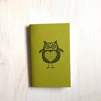 Small Notebook: Owl Notebook, Green, Fall, Jotter, Cute, Kids, Gift, Unique, Journal, Stamped, Thanksgiving, Halloween, Stocking Stuffer