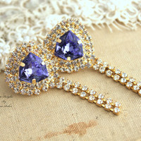 Chandelier earrings,Purple violet tanzanite diamond Swarovski Crystal,Wedding jewelry,mother of the bride - 14k plated gold post earrings.