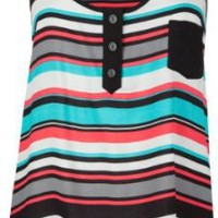 FULL TILT Stripe Womens Hi Low Tank