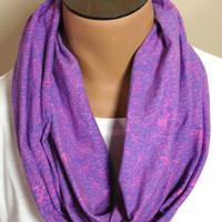 Purple & Pink Cracked Print Infinity Scarf
