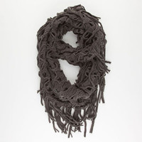 Figure 8 Link Knit Infinity Scarf in Grey or White