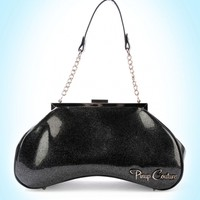 Pinup Couture- Amoeba Handbag in Black Glitter Vinyl and Black Vinyl Trim | Pinup Girl Clothing