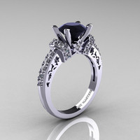 Modern Armenian Classic 18K White Gold 1.5 Ct Black and White Diamond Wedding Ring R137-18KWGDBD