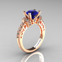 Modern Armenian Classic 14K Rose Gold 1.5 Ct Blue Sapphire Diamond Wedding Ring R137-14KRGDBS
