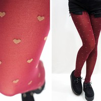 Holiday Hearts Red Tights