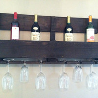 Large Reclaimed Wooden Wine Rack With Wine Glass Holder