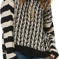 ANGIE FAITH MIXED PATTERN SWEATER
