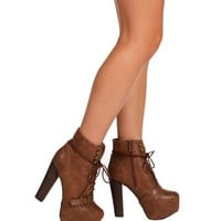 Tan Hidden Platform Ankle Boots