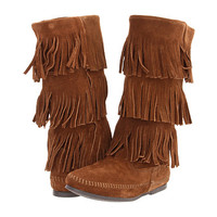 Minnetonka Calf Hi 3-Layer Fringe Boot Dusty Brown Suede - Zappos.com Free Shipping BOTH Ways