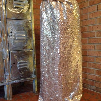 Sequin Maxi Skirt - Long Sequined - Gold Champagne