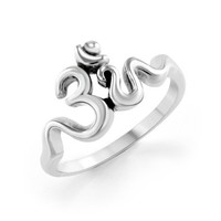 925 Sterling Silver Calligraphy Style Yoga Om Band Ring for Women