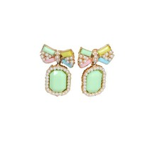 Bow Peal Earrings - Green | Style Icon`s Closet