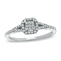 1/5 CT. T.W. Composite Square Diamond Vintage Promise Ring in 10K White Gold