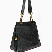 Vintage Chanel Hunter Green Quilted Leather Tote
