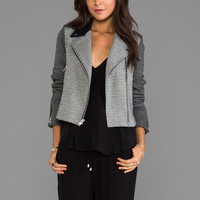 Theory Adashi K Wool Moto Jacket in Black/White/Navy