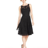 Evan Picone Dress, Sleeveless Belted Lace A-Line
