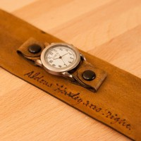 Leather cuff watch - Personalized Smokey Pattern in Antique Brown