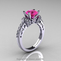 Modern Armenian Classic 14K White Gold 1.5 Ct Pink Sapphire Diamond Wedding Ring R137-14KWGDPS