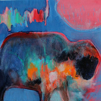 "Abstract Animal Painting with Acrylic Paint Small Canvas ""Prayers of the Buffalo"""