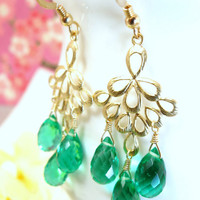 Emerald green quartz peacock gold chandelier earrings, wizard of oz peacock earrings, emerald city green peacock earrings