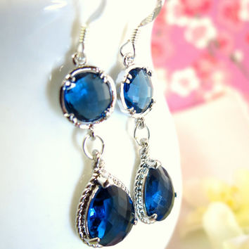 Royal blue glass silver chandelier earrings