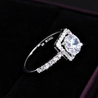 925 Sterling Silver Classic Engagement Wedding CZ Ring with Half Pave Arm