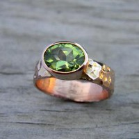 Peridot Hammered 14k Rose Gold Ring Ready to Ship by onegarnetgirl