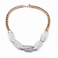 Full Rhinestone Feather Necklace
