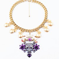 Skull and Apple Oversize Statement Necklace