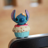 SALE30-70%OFF: Hand painted Stitch Plug iPhone . Dust Plug . Phone Plug . Phone Charm, Kawaii, Lovely, Girly, lilo stitch