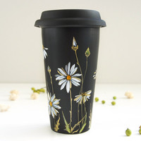 Hand Painted Black Ceramic Double Walled Travel Mug with Lid - Gold Daisies, Botanical Collection