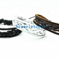 set of 3 bracelet, real leather bracelet women Leather Bracelet Men leather bracelet, friendship bracelet,Christmas Gift C039