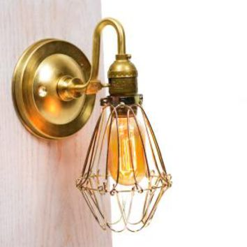 Caged Edison Brass Arm Wall Sconce | Junkyard Lighting on Wanelo