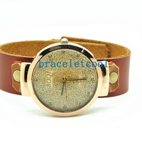 Retro style watch,women wrist watch bracelet, Brown Leather Bracelet Watch, Handmade Women's Watch, Everyday Bracelet C038