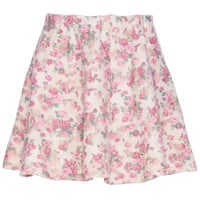 ROMWE | ROMWE Floral Print Pink Skirt, The Latest Street Fashion
